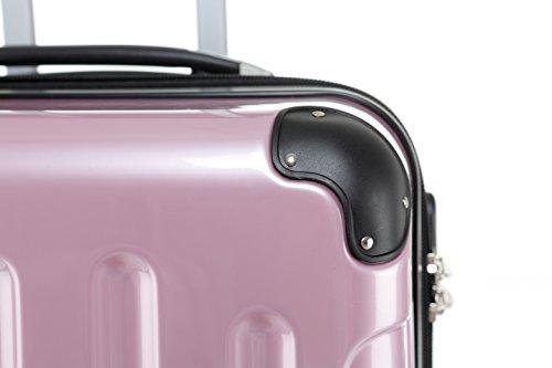 BEIBYE Hartschalen Koffer Trolley Rollkoffer Reisekoffer 4 Zwillingsrollen (Kofferset, Rosa) - 5