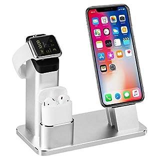 Apple Watch Stand, Aluminum 3 in 1 Apple Watch iPhone Airpods Ständer Ladestation von TOFURT Docking Station für Apple Watch Series 3/2/1/ AirPods/ iPhone X/8/8Plus/7/7 Plus /6S /6S Plus/ipad,Silber