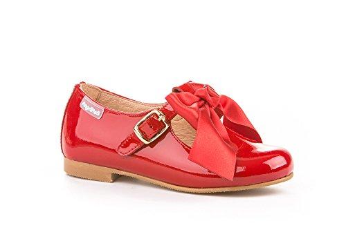 Merceditas Charol con Lazo para Niñas Todo Piel mod.516. Calzado infantil Made in Spain, Garantia de Calidad. (31, Rojo)