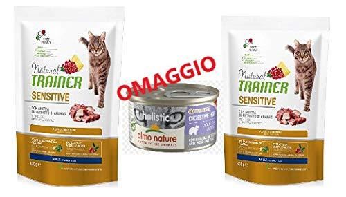 Trainer 2 Sacchi da 300 gr Natural Sensitive Gatto con Anatra ed estratto di Ananas Aiuta la digestione Piu 1 Omaggio scatoletta almo Nature Digestive