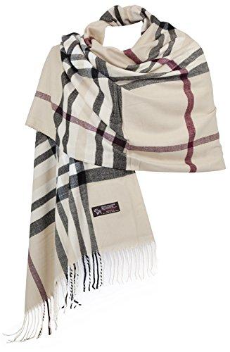 RW Fashion, sciarpa delle donne - ha rubato, classico Cashmere & viscosa, Beige - a scacchi - STK410