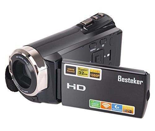 Camcorder, Besteker FHD 1080P Digitalkamera-Camcorder (IR Nachtsicht, WIFI, Max.20,0 MP) mit 3,0 Zoll Drehbarem TFT-LCD-Touchscreen (schwarz)