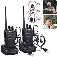 ELE ESPIRIT Baofeng BF-888S UHF 400-470MHz CTCSS/DCS Handheld Amateur Radio Tranceiver Walkie Talkie Two Way Radio Long Range Black (Pack of 2), with Free 2 headsets with The Package