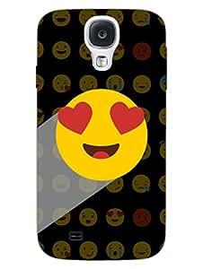 Samsung S4 Cases & Covers - Whatsapp Emoji - Heart Eyes - Black - Designer Printed Hard Shell Case