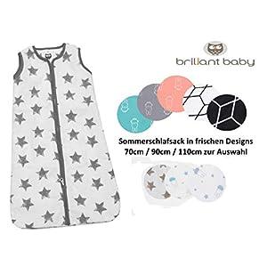 BriljantBaby Dorams – Saco de dormir de verano para bebé, 0,5 tog, 100% algodón, 70 cm, 90 cm y 110 cm gris Stars Grey Talla:70 cm