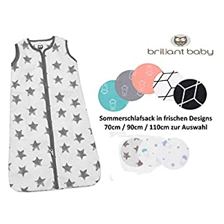BriljantBaby Dorams – Saco de dormir de verano para bebé, 0,5 tog, 100% algodón, 70 cm, 90 cm y 110 cm negro Bunny Black/White Talla:70 cm