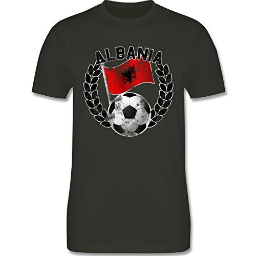EM 2016 - Frankreich - Albania Flagge & Fußball Vintage - Herren Premium T-Shirt Army Grün