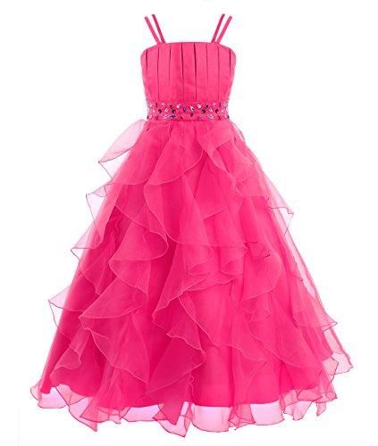 IEFIEL Vestido Largo de Ceremonia Boda Fiesta para Niña Vestido de Princesa Tutu Vestido Tirante de Gala Elegante Traje de Fiesta sin Mangas Rosa Oscuro 4 años