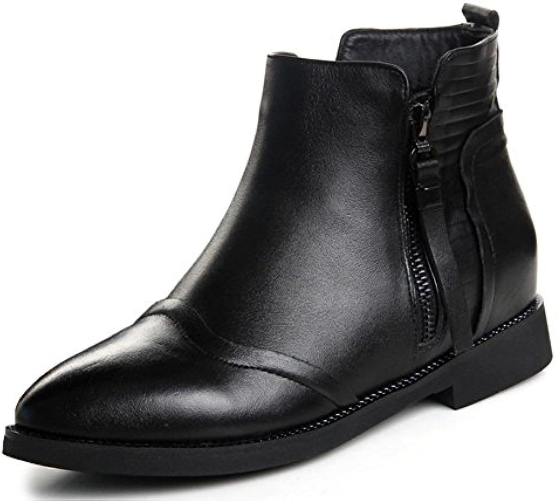 botas puntiagudas de tacón bajo las botas planas mujeres desnudas Martin botas de los zapatos del elevador Sra...