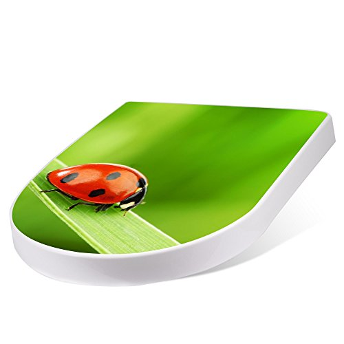 banjado Design Toilettensitz mit Absenkautomatik, WC-Sitz weiß, Klodeckel mit Edelstahl Scharnieren, Toilettendeckel mit Motiv Marienkäfer