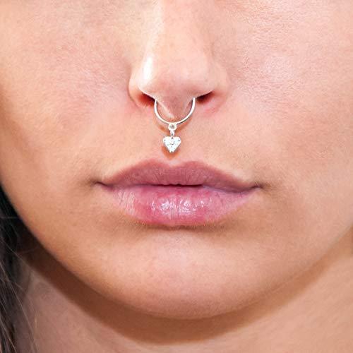 Diversa piercing - septum in oro 750, anello naso septum donna in oro 18kt, septum cuore pendente con zirconi, in oro bianco o giallo