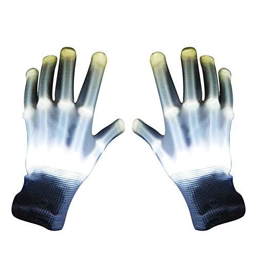 (Amyzor Skelett-Handschuhe, leuchtet im Dunkeln, für Clubs, Halloween, Disco-Partys, Tanzen (weiß))