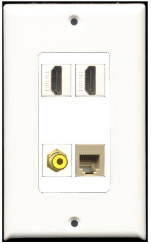 RiteAV-2Port HDMI 1Port RCA gelb 1Port Telefonkabel RJ11RJ12beige Wall Plate Decora 4 Port, Single Gang Keystone
