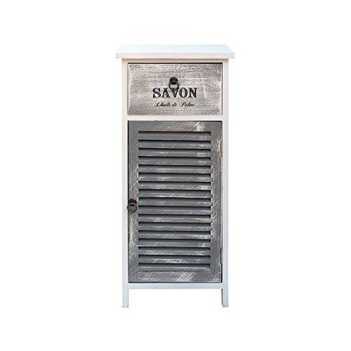 Mobili rebecca comodino armadietto 1 cassetto 1 anta bianco grigio legno design retro bagno ingresso (cod. re6091)
