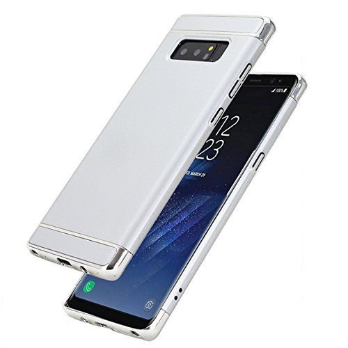 Samsung Galaxy Note 8 Hülle 3 in 1 Ultra Dünner PC Harte Case Ganzkörper Schützend with Electroplated Bumper Anti-Kratzer Shockproof Hard Matt Cover Case (Silber)