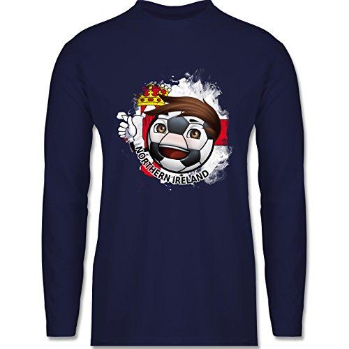 EM 2016 - Frankreich - Fußballjunge Nordirland - Longsleeve / langärmeliges T-Shirt für Herren Navy Blau