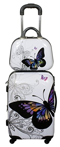 Koffer Reisekoffer Hartschalenkoffer Trolley Designer Kofferset Butterfly mit Dehnfalte Größe XL mit Beauty Case