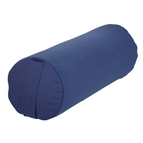 Yoga- und Pilates-Bolster Basic 65 x 23 cm, dunkelblau, Yoga Hilfsmittel mit Dinkel-Hülsen gefüllt, Dinkelfüllung, Yoga Rolle