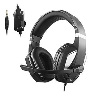 Etpark Gaming-Headset für Xbox One, PS4, PC-Controller, Over-Ear-Kopfhörer mit Mikrofon, weiches Ohrpolster, 3,5 mm Klinkenkabel für Laptop Tablet Smartphone
