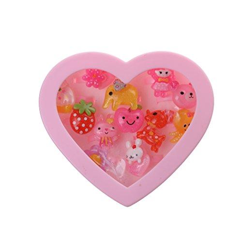 MagiDeal 12pcs Anneau Plastique Assortis Avec Boîte De Coeur Rose Enfant Fille Bijoux Présent Idéal pour Sacs de Fête des Charges