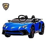 Uenjoy Lamborghini Véhicule Électrique Voiture pour Enfant avec Télécommande, Lumière LED, Suspension,Interface USB, Haut-Parleur, Compatible Lamborghini,Bleu