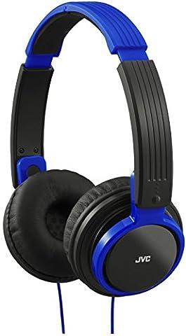 JVC Casque Audio Portable Supra Auriculaire Universel avec Commande et Microphone Intégrés Compatible avec Smartphones et Tablettes Apple et Android, Liseuses, Mp3, PC, Laptops, Netbooks, HiFis - Bleu