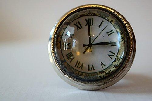 Schönes Uhr-Design, römische Ziffern, Set aus Glas mit kunstvollen Metallumrandungen für Schubladen, Vintage-Stil, Shabby Chic, Schrank, Schubladen, Ziehgriff -