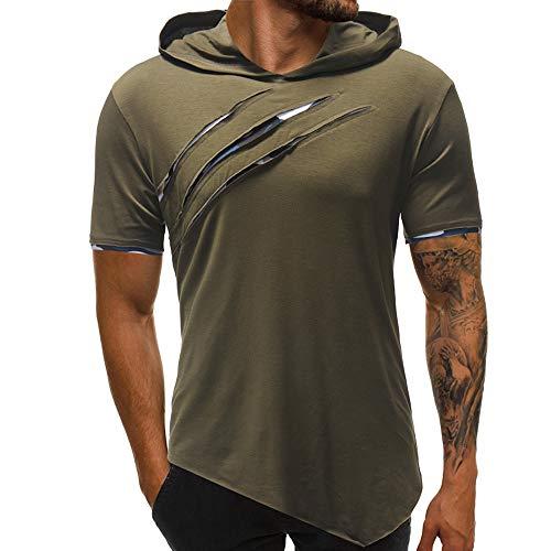 ZHANSANFM Herren Kurzarm Kapuzenshirt Persönlichkeit T-Shirt mit Kapuze Männer Hoodie Sport Style Kurzarmshirt Sommer Figurbetont (3XL,Grün)