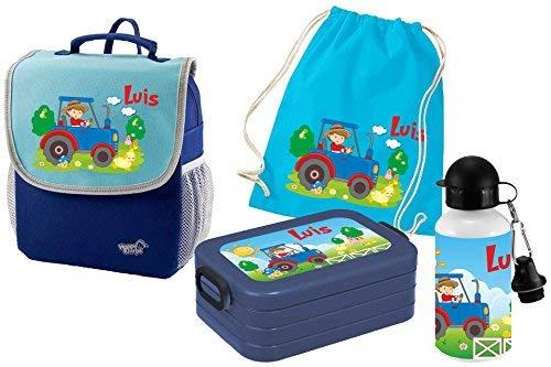 Mein Zwergenland Set 5 Kindergartenrucksack mit Brotdose, Turnbeutel aus Baumwolle und Trinkflasche Happy Knirps Next mit Name Traktor, 4-teilig, Blau