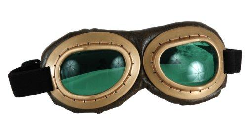 Steampunk Fliegerbrille golden Pilot (Zähne Aviator)