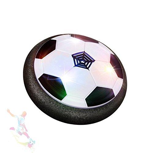Wenosda Air Power Fußball / Disc / Disk / Fußballspiel mit Soft Foam Stoßstange und Bunte LED Licht für Kind / Kind Indoor Outdoor Spielzeug - Schwarz