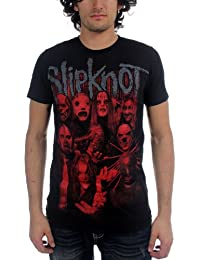 Slipknot - Red Faces Mens T-Shirt In Black