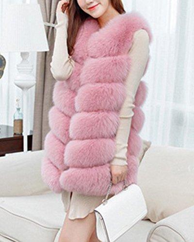 Donna Lungo Gilet Invernale Cappotto Di Falso Pelliccia Senza Maniche Giacchetto Giubbotto Faux Fur Giacca Parka Pink