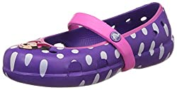 Crocs Girls Neon Purple and Neon Magenta Mary Jane Flats - C12