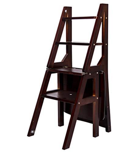 Cherry Küche Stuhl (FENGSGEXING-Ladders Klappleiter Multifunktion Mehrzweck Flip Steigen Sie Auf Treppe Zuhause Draussen 4 Farben,Cherry)