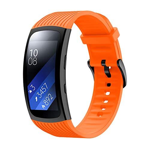 WAOTIER für Samsung Gear Fit 2 Pro Armband Silikon Armband mit Streifen Muster Ersatzband für Samsung Fit Gear 2 Pro/Gear 2 Armband mit Edelstahl Verschluss Wasserdichter Sommer Armband (Orange) -