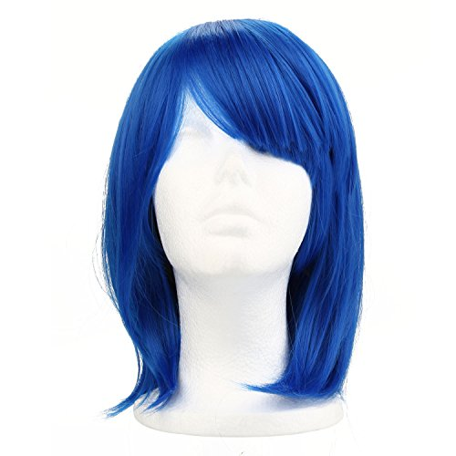 Pinzhi - Perruque BOB Cheveux Court Coiffure Sassoon pour Femme Punk Amateur Bal Costumé Soirée, Fibre Résistante à Haute Température, Bleu Saphir