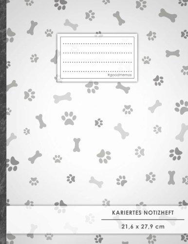 """Kariertes Notizbuch • A4-Format, 100+ Seiten, Soft Cover, Register, Mit Rand, """"Hundefreunde"""" • Original #GoodMemos Quad Ruled Notebook • Perfekt als Tagebuch, Skizzenbuch, Notizheft, Matheheft"""