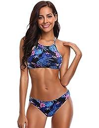 SHEKINI Damen Bikini Set Neckholder Push Up Sport Streifen Bikini Bandeau Strandmode Bademode Badeanzug Zweiteilige Gepolstert Strandkleidung Split