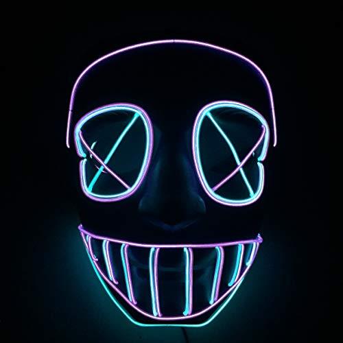 Yool Kaltlicht LED-Maske, Halloween-Maske Beleuchtet Lustige Maske Großen Festival Cosplay Kostüm Party-Maske In der Dunkelheit