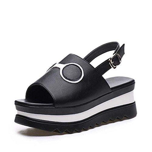 5,5 centimetri Tacco a cuneo Pelle sandalo D'Orsay Spessore inferiore sandali Scarpe da sera Donne Peep Toe Cavo Cinturino alla caviglia Scarpe casual Scarpette Scarpe da ascensore Dimensioni Eu 34-40 Black
