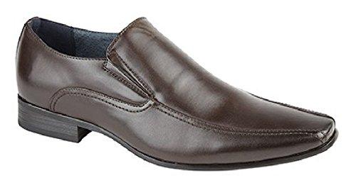 Route21 Paire de chaussures pour homme avec double soufflet et doublure en cuir Tailles 39-48 Marron - PU marron