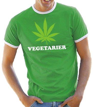 Vegetarier Kontrast / Ringer T-Shirt Kelly Green/White, XXL (Green Kelly Ringer)