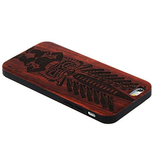 Handy Schutzhülle für iPhone 5 5S SE Forepin® Echtem Holzhülle auf Kunststoff Ultraslim Handyhülle - Hart PC Bumper Case für iPhone 5 5S SE SmartPhone, Tiger Stamm