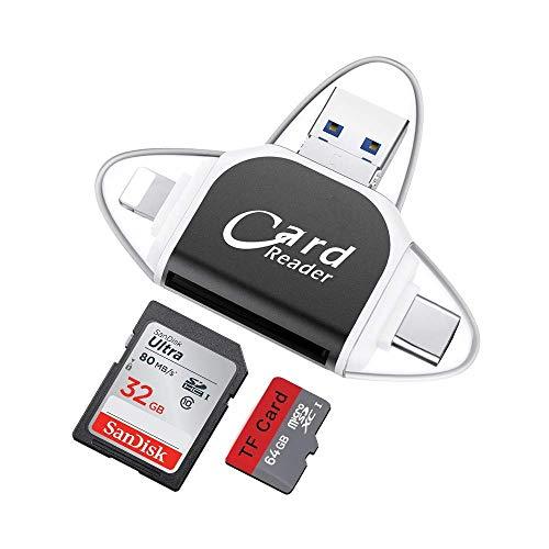 KEZIO SD-Kartenleser, Speicher Micro SD-Kartenleser USB-C-Adapter-Viewer Kompatibel mit iPhone iPad Android Mac - mit 8-poligem Micro-USB-Typ C 4 in 1