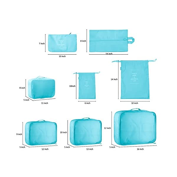 60cb59e48524 8 Set Suitcase Packing Cubes-Travel Luggage Packing Organizers Cube Luggage  Compression Pouches Waterproof Lightweight -5 Colour Options