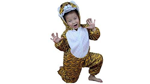 (Kinder Tierkostüme Jungen Mädchen Unisex Kostüm Outfit Cosplay Kinder Strampelanzug (Tiger, L (Für Kinder 105 - 120 cm groß)))