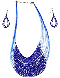 A2Z Online Store Fashionable Beads Necklace Set With Earrings Jewellery For Women And Girls (A2ZOS- 02_Blue)