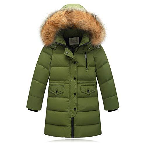Riou Kinder Baby Lang Daunenjacke mit Pelz Ultraleicht Wintermantel Winter Warme Jungen Mädchen Jacke mit Kapuze Hochwertig Schön Parka Mantel (100, Grün)