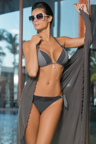 Marko Amber M-260 splendido bikini con elegante ciondolo con zircone e delicate perline nero-grigio